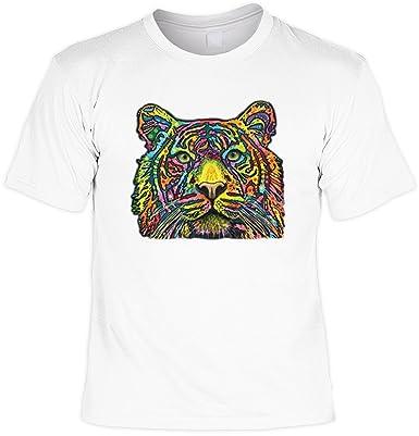 Fun T-Shirt - Colored Tiger - Modern Art Cat mit US-Motiv