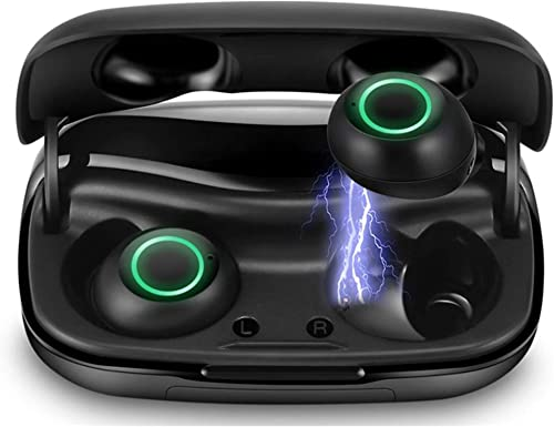 LEXONIX Bluetooth 5.0 Wireless Earbuds with Charging Case IPX7 Waterproof TWS Stereo Headphones in Ear Built in Mic Headset Premium Sounds with Deep Bass for Sport Black