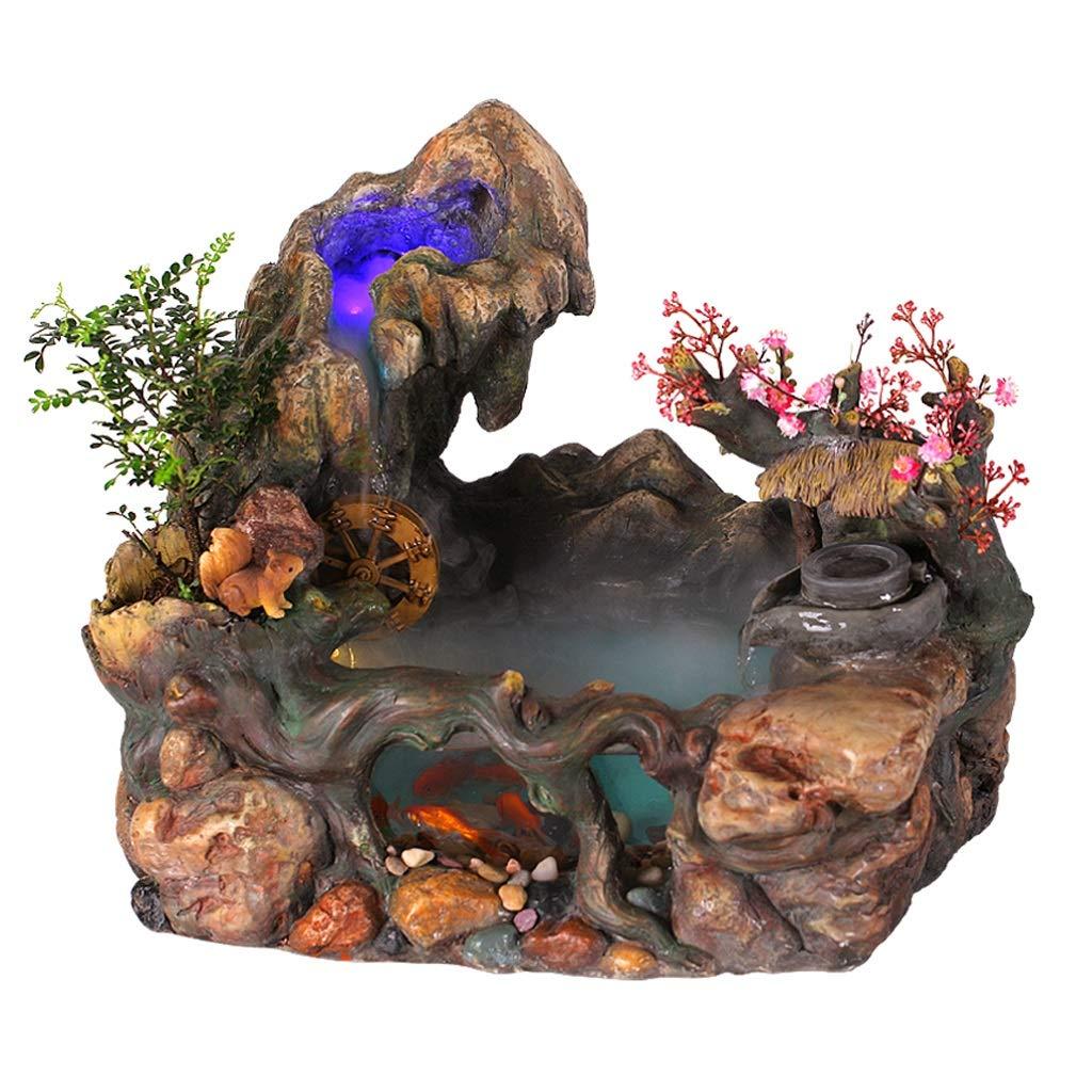 Carro Armato Decorativo del Pesce, Caratteristiche d'Acqua d'Acqua d'Acqua della Decorazione del Desktop dell'Acqua Fontana rocciosa Creativa dell'interno d82cd9