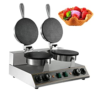 VBENLEM 110V Double Head Electric Ice Cream Cone Waffle Maker Machine 1200W Stainless Steel Nonstick Temperature and Time Control Electric Waffle Cone Machine Suitable for Restaurant Bakeries Snack Family