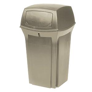 Rubbermaid Ranger 2 Door Outdoor Trash Can, 35 Gallon, Beige