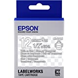 "Epson LabelWorks Clear LK (Replaces LC) Tape Cartridge ~1/2"" White on Clear (LK-4TWN) - For use with LabelWorks LW-300, LW-400, LW-600P and LW-700 label printers"