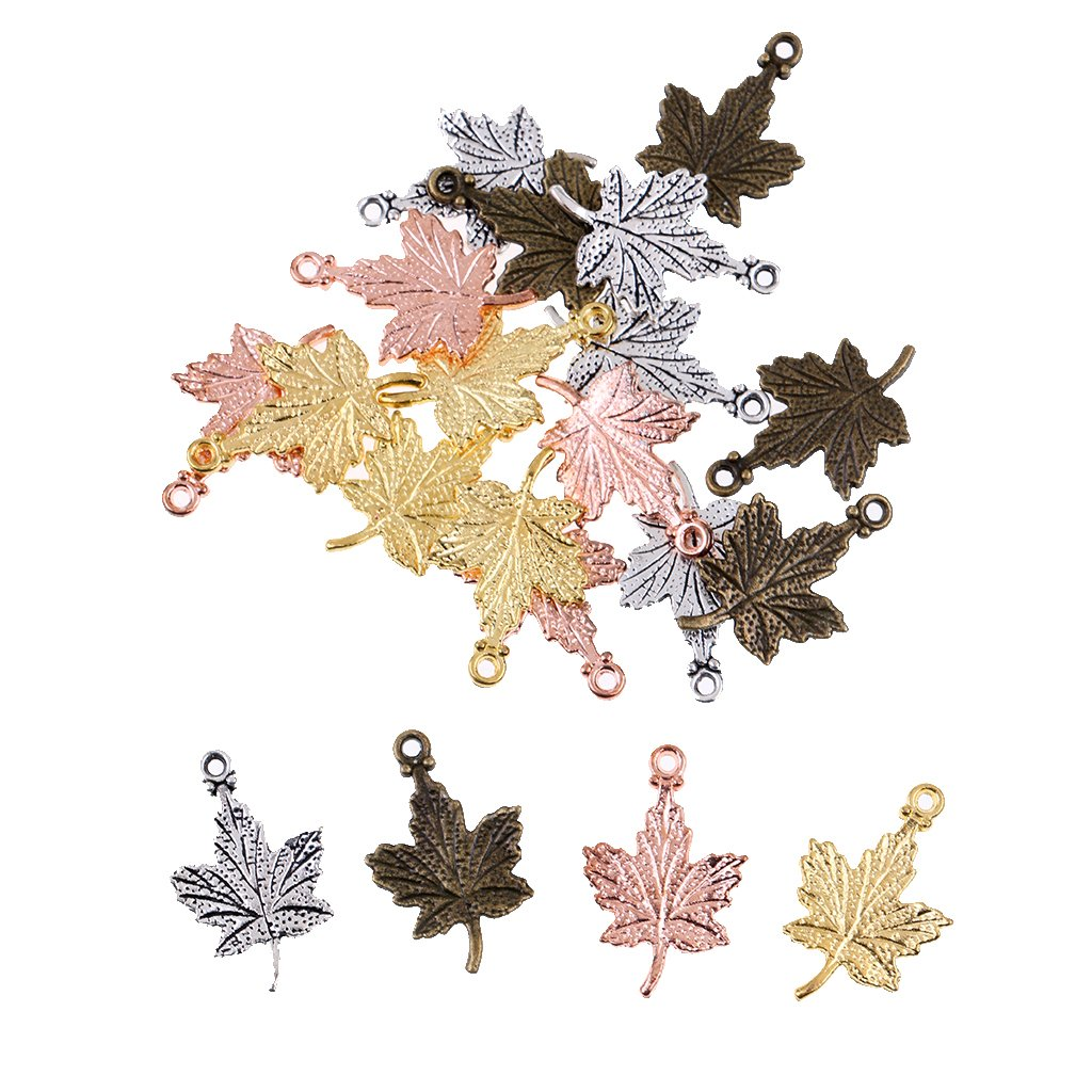 MonkeyJack 20Pieces Mixed Color Vintage Maple Leaf Charms Pendants Jewelry Findings
