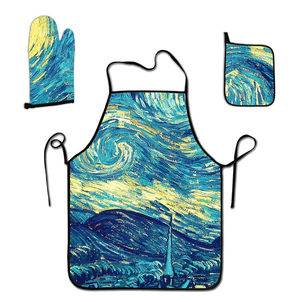 FEDDIY Kitchen 3-Piece Cooking Apron Set with Oven Mitt and Pot Holder-The Starry Night Fabric