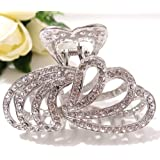 woman Whites Glinted Crystal water drop Hair Clip Claw pins