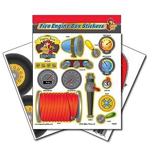 Paper Box Pilots - Cardboard Box Fire Engine Stickers