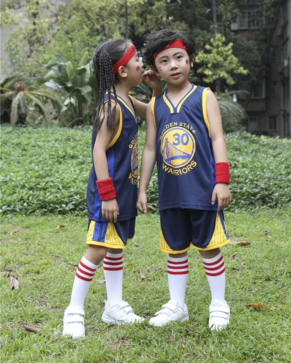 NBA Warriors #30 Curry Basketball Uniform Summer Shirt Vest Top Shorts for Boys and Girls Kids Basketball Jerseys Set