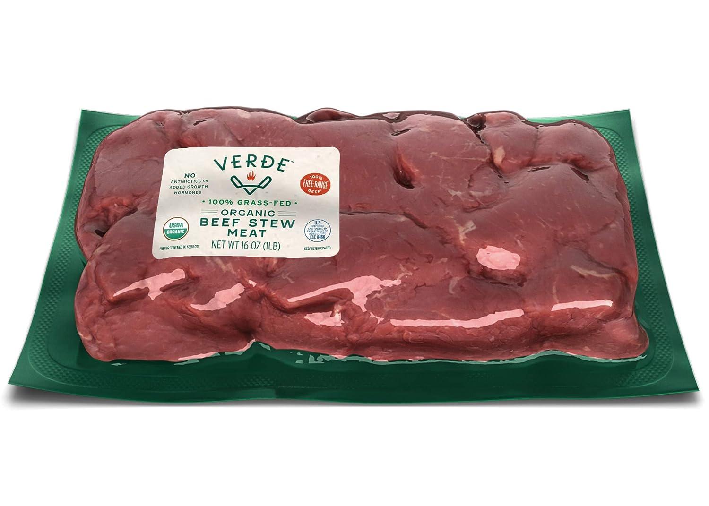 Verde Farms Organic 100% Grass-Fed Stew Meat, 1 lb