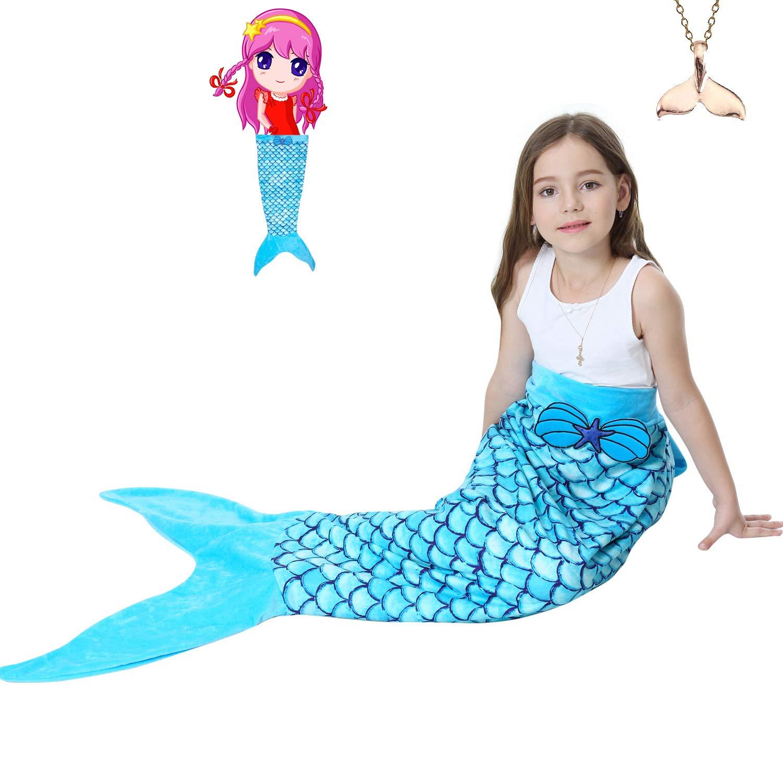 Mermaid Tail Blanket for Girls Kids Crochet Sequins Soft Flannel Fleece Princess Sleep Bag All Seasons Sleeping Blanket Bag Best Gifts Blue (52''*21'') GRE1BEE