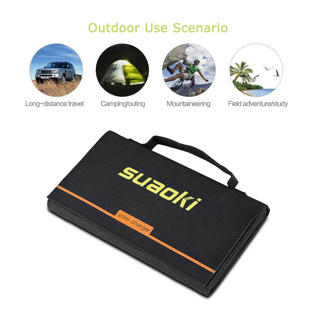 Suaoki 40W Portable Sunpower Mono-crystalline Solar Panel With DC 18V and Usb 5V Output Charger for Laptop Tablet SLR GPS Cellphone Other 5-18V Device by SUAOKI (Image #5)