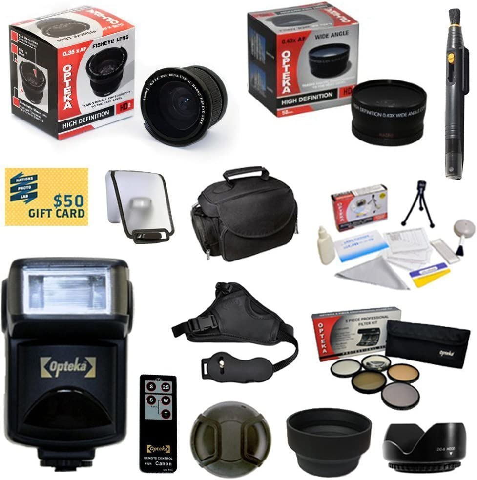 - Includes: Opteka 0.35x Wide Angle Lens T5i T4i T3i T3 T2i T1i XT XTi XSi SL1 Professional 5 Piece Filter Kit 47th Street Photo Best Value Advanced Lens Kit for the Canon EOS REBEL UV, CPL, FL, ND4 and 2.2x Extreme High Definition AF Telephoto Lens