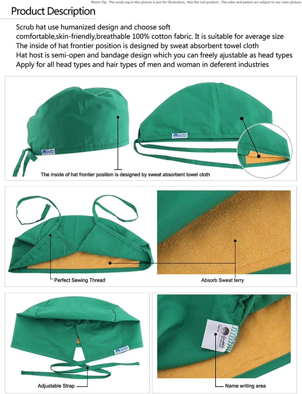 GUOER Womens and Mens Scrub Cap Scrub Hat One Size Multiple Color