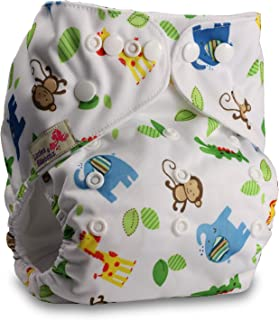 Littles & Bloomz, Reusable Pocket Cloth Nappy, Fastener: Popper, Set of 1, Pattern 84, with 1 Bamboo Insert
