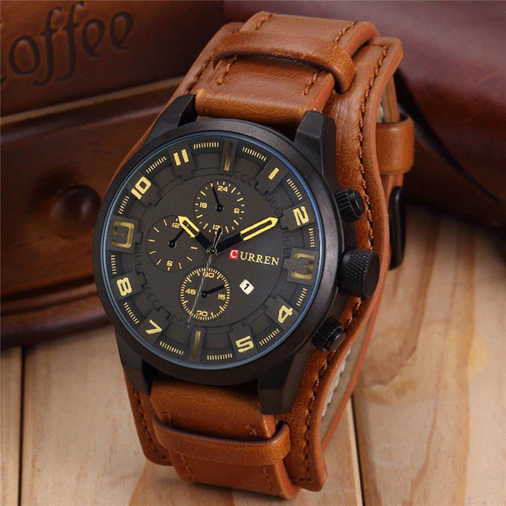 Reloj deportivo para hombre Curren, con mecanismo de cuarzo resistente al agua, de acero inoxidable, para deportes al aire libre o militares, esfera redonda ...