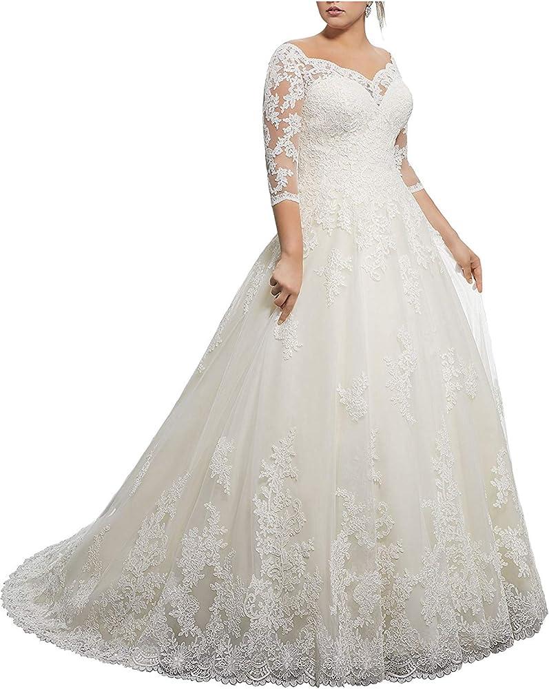Amazon.com: Vestido de novia de encaje para mujer con mangas ...