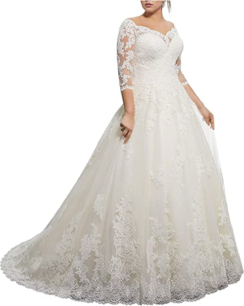 Women\'s Lace Wedding Dresses for Bride with 3/4 Sleeves Plus Size Bridal  Gown