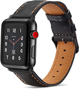 Tasikar Bands Compatible with Apple Watch Band 38mm 40mm Premium Genuine Leather Replacement Band for Apple Watch SE Series 6 5 4 (40mm) Series 3 2 1 (38mm) - Black