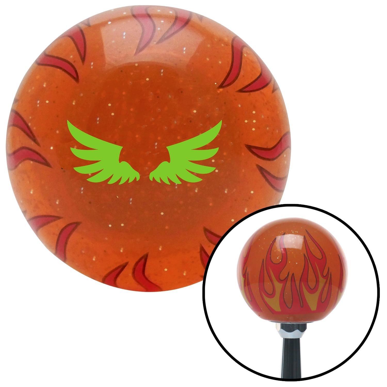 American Shifter 253503 Orange Flame Metal Flake Shift Knob with M16 x 1.5 Insert Green Firebird Wings