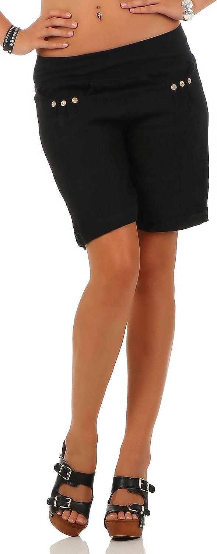 Pants l/ässige Kurze Hose Malito Damen Bermuda aus Leinen Hotpants 6822 Shorts f/ür den Strand