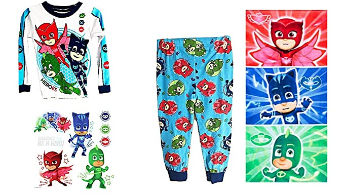 PJ Masks Characters Boys Pajama Set Bath Towel Plus Glow in The Dark Wall Decals