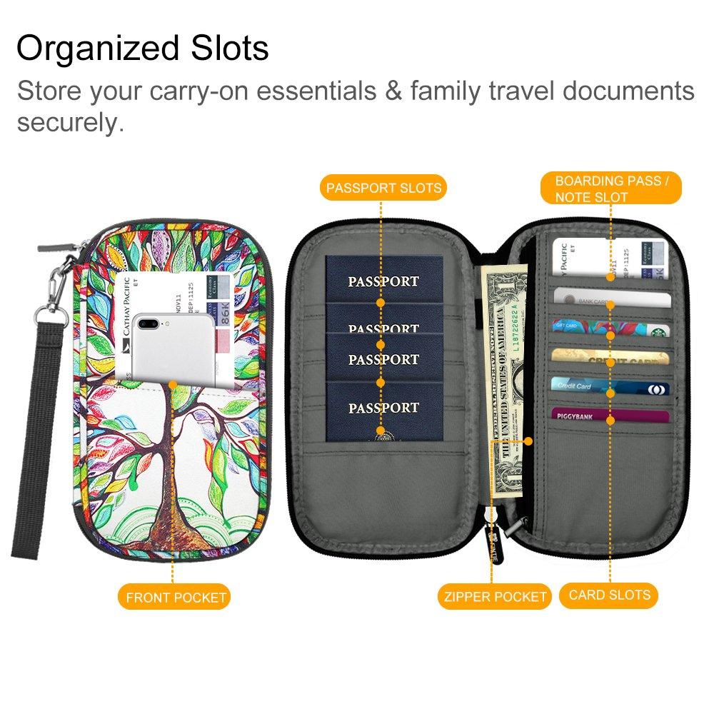 Family Passport Holder, Fintie RFID Blocking Zipper Case Document Organizer, Love Tree by Fintie (Image #6)