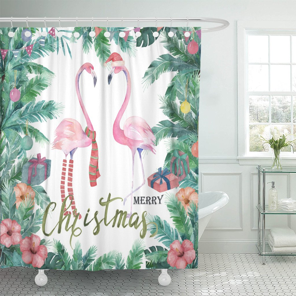 TOMPOP Shower Curtain Green Holiday Christmas Tropical Watercolor Palm Tree Flamingo Red Waterproof Polyester Fabric 72 x 72 Inches Set with Hooks