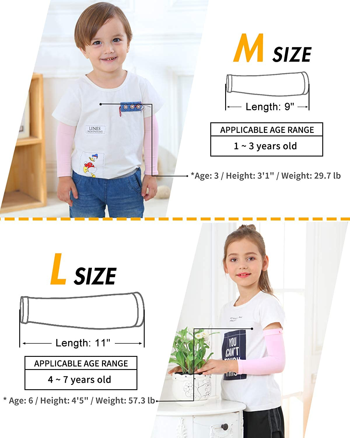 Arm Sleeves for Kids UPF 50 UV Sun Protection Sleeves to Cover Arms Toddlers