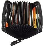 Cuero tarjetero para tarjeta de crédito y tarjeta de visita 13 bolsillos en varios colores (Negro)