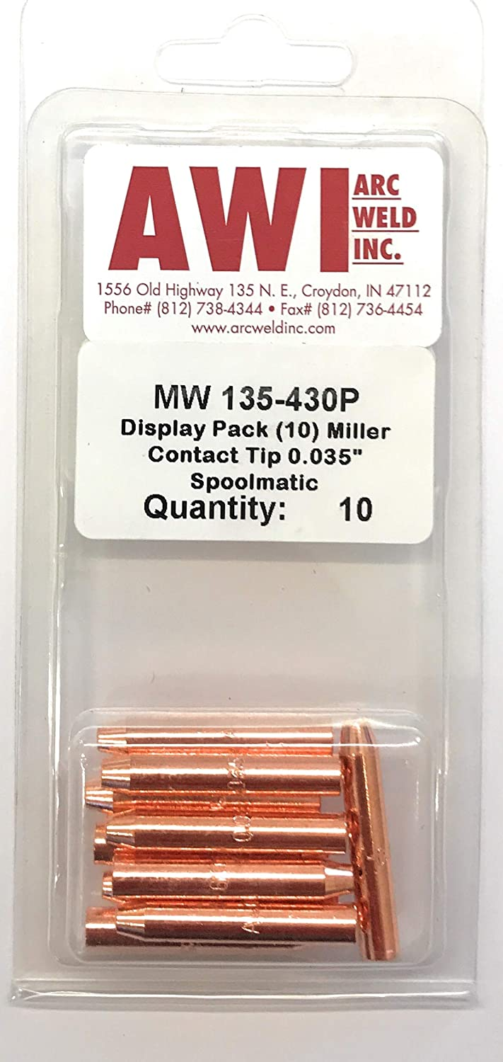 135-430 Miller Style Spoolmatic and XR 1st Generation Series Contact Tip .035-.052 Arc Weld by Masterweld Pack of 10