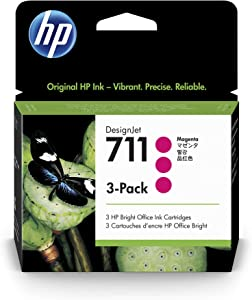 HP 711 Magenta 29-ml 3-Pack Genuine Ink Cartridges (CZ135A) for DesignJet T530, T525, T520, T130, T125, T120 & T100 Large Format Plotter Printers