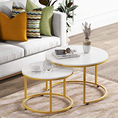 LITTLE TREE Nesting Coffee End Tables Faux Marble Modern Furniture Decor Side Table for Living Room Balcony Home and Office, Gold and White