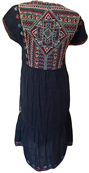 Johnny Was Navy Workshop Melika Cap Sleeve Embroidered Dress W31418 NEW