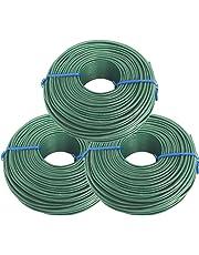 Tie Wire - (3X Rolls) of Premium Epoxy Coated 16 Gauge Tie Wire - Green PVC Plastic Coating - 2 1/2lb - 16 GA - Rebar, Garden, Or Plant Tie Wire