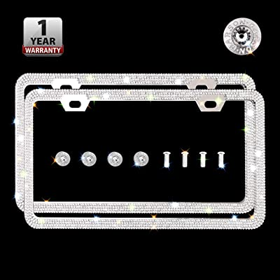 Indeedbuy Sparkle Crystal Bling Car Thin Border License Plate Frame, Luxury Handmade Waterproof Glitter Rhinestone Premium Stainless Steel Licence Plate Front Back License: Automotive