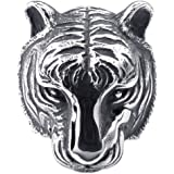 KONOV Schmuck Herren-Ring, Edelstahl, Gotik Tiger, Schwarz Silber