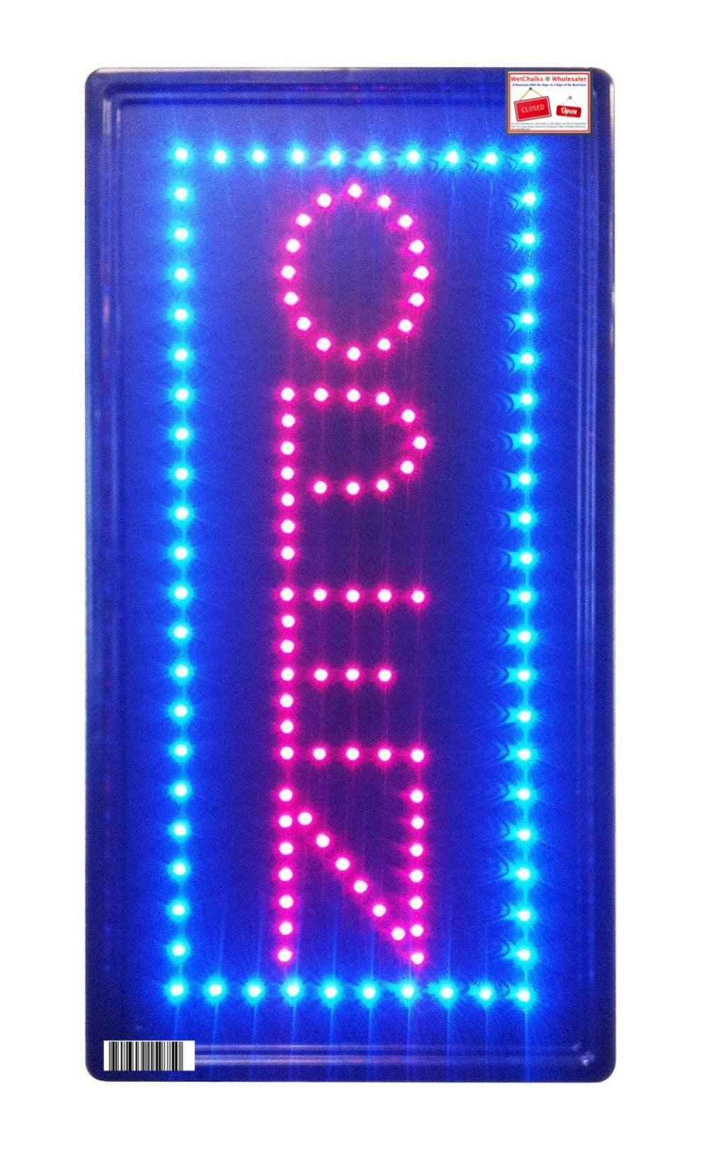 Open Vertical LED Neon Sign 10x20'' Now Brighter and Bigger with On/off Animation + On/off Switch +Chain