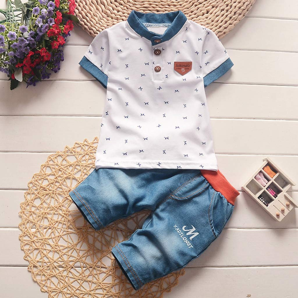 Rosennie Toddler Kids 2PCS Baby Boy Short Sleeve T Shirt and Shorts Outfit Clothes Set