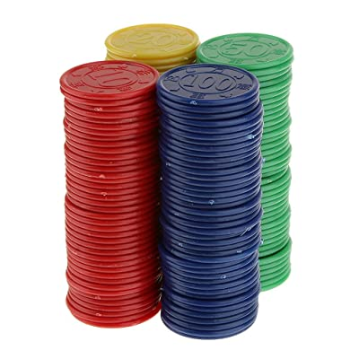 160pcs Juguetes Juegos Casino Fichas Póquer Mahjong Color Rojo Amarillo Azul Verde: Juguetes y juegos