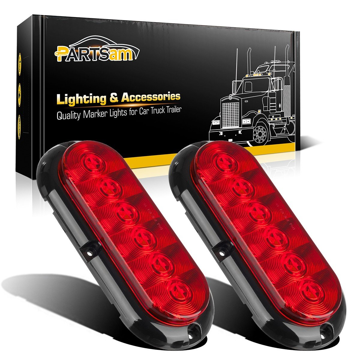 Partsam 2PCS Trailer Truck Boat Bus Red LED 6' Inch Oval Stop Turn Tail Brake Light DOT Certified Marker Lights Sealed Surface Mount 12V Waterproof for RV Jeep Trucks
