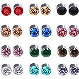 Spiritlele 12 Pairs Colors Crystal Magnetic Stud Earrings Set CZ Non Piercing Clip on Earrings Pack