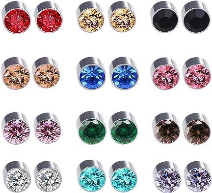 Amazon Com Spiritlele 12 Pairs Colors Crystal Magnetic Earrings