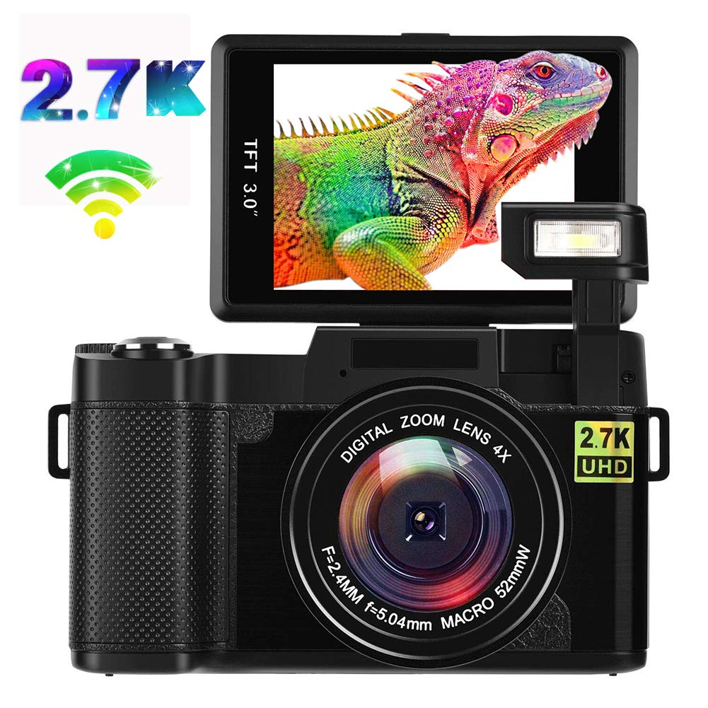 Digital Camera Vlogging Camera 2.7K Full HD 24MP WiFi YouTube Camera with Flip Screen Retractable Flash Light and UV Lens (G03-CCB)
