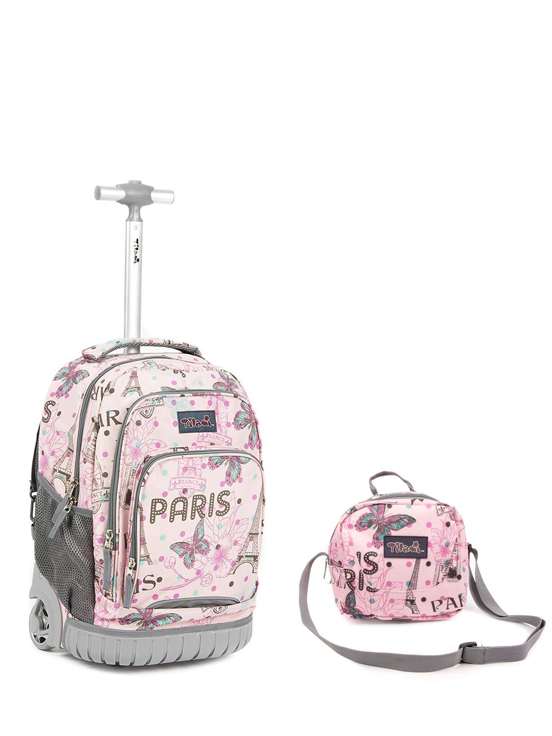 Tilami New Antifouling Design 18 Inch Wheeled Rolling Backpack Luggage and Lunch Bag, Pink Butterfly Paris by Tilami