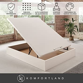 Komfortland Canapé abatible Wood Medida 105x190 cm Color Blanco (Montaje Incluido): Amazon.es: Hogar