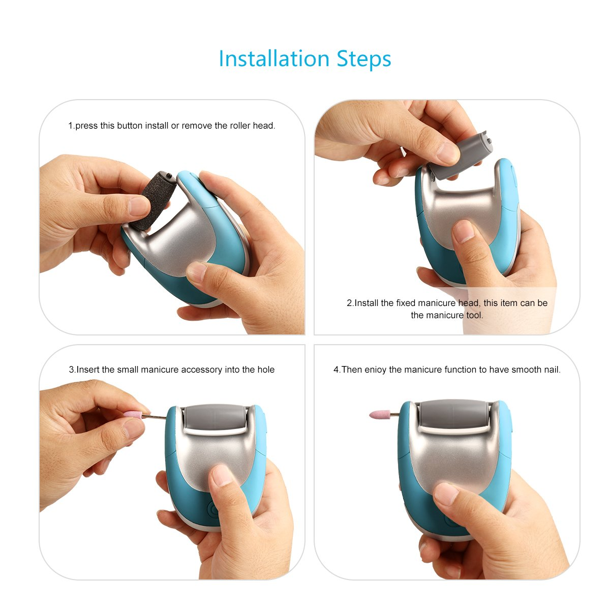 Nail polisher and callus remover nail care kit be sure to check out -  1 Electric Callus Remover Foot File Nail Polisher By Ms W Pedicure Tools Manicure Kit With Portable Travel Bag Usb Rechargeable Health Personal Care