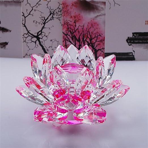 Flor de loto de cristal para decoración de hogar, con colores, para regalo de cumpleaños o boda, Cristal transparente, Rosa
