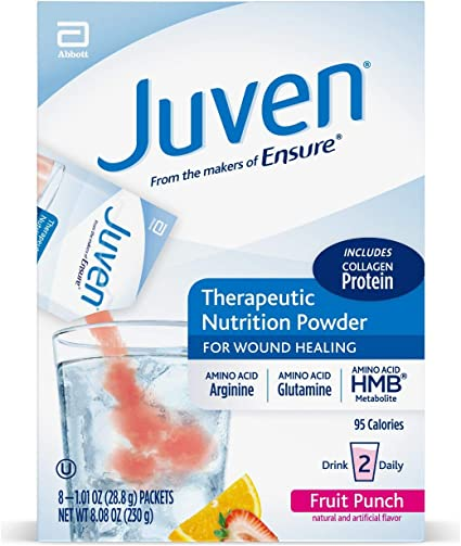 Juven Therapeutic Nutrition Drink Mix Powder for Wound Healing Support, Includes Collagen Protein, Fruit Punch, 48 Count