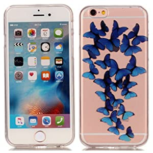 Iphone 6S Plus Case, iphone 6 Plus TPU Case - Blue Butterflies Pattern Soft TPU Gel Slim Transparent Clear Back Protective Skin Cover Scratch-proof for Apple iphone 6/6S Plus