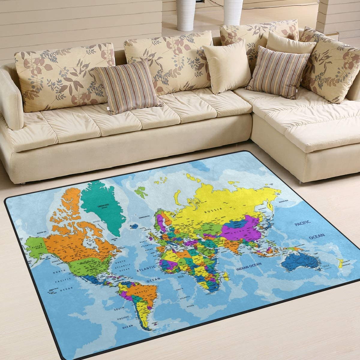 ALAZA Colorful World Map Area Rug Rugs for Living Room Bedroom 7 x 5