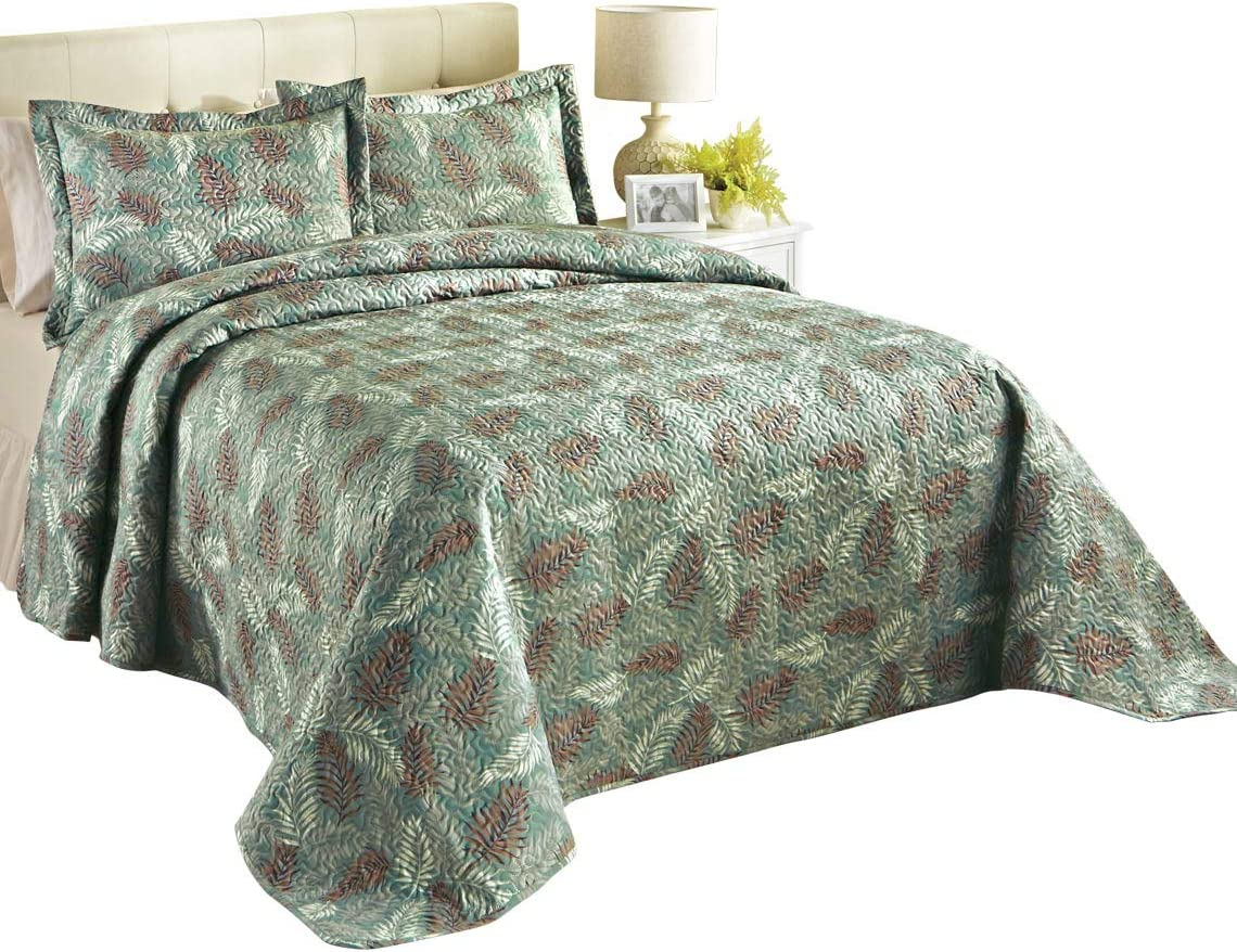 Sage Carol Wright Gifts Palm Bedspread Size Full Size Full Full Color Sage